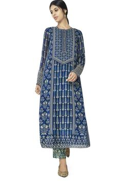 Blue printed kurti with buttons