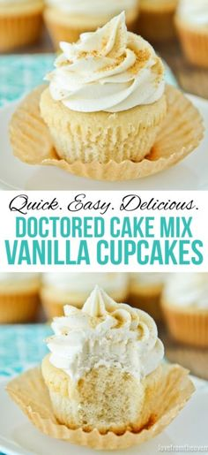 While you might prefer baking completely from scratch, sometimes when it comes to cupcakes, there's nothing better than the ease and simplicity of starting with a cake mix. Making these is really no m(Cake Mix Recipes) Cupcakes Cool, Easy Vanilla Cupcakes, Cake Mix Cupcakes, Vanilla Cake Mixes, Cupcake Cakes, Vanilla Cake Box Recipe, Cake Mix Recipes, Cupcake Recipes, Dessert Recipes