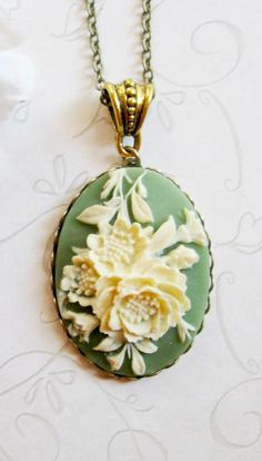 Cameo necklace, vintage style, sage green