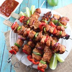 Chipotle Lime Chicken Fajita Skewers--- made these last week and they were AMAZING!
