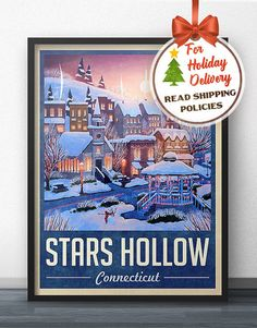 Stars Hollow Winter Holiday Travel Poster - Inspired by Gilmore Girls ed4ceae918316