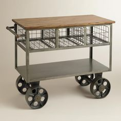 Furniture Ideas. Shapely Kitchen Island Cart, Table And Fixtures Decorating: Inspirational Vintage Kitchen Island Cart Trolley With Wheels Base And Wood Top As Well As Rail Basket For Storage As Custom Portable Kitchen Trolley Designs