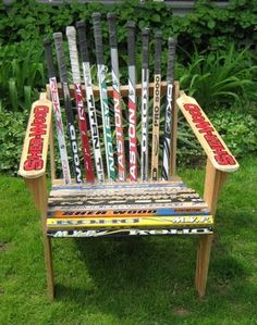 A muskoka chair made out of hockey sticks.  The coolest thing I ever built.  One night while playing hockey I broke my stick.  I brought it home with me and as I carried it up the steps to our porch I looked at the chairs I had built many years ago and was inspired.