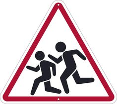 """Children Crossing Graphic, National Marker TM602K, 24""""x24"""", Black And Red On…"""