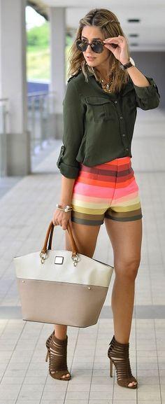 Ma Petite By Ana Multi Stripe Shorts Outfit Idea