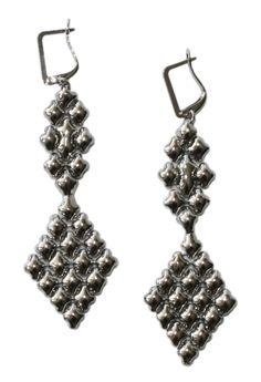 Liquid Metal Chandelier Silver Mesh Earrings by Sergio Gutierrez E16