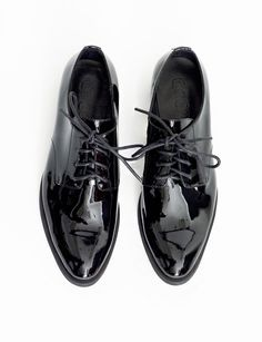 39e300298b7638 patent brogue - black lace-up brogues - patent shoes -  139 Black Brogues