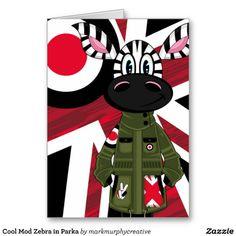 Cool Mod Zebra in Parka Card by #markmurphycreative at #zazzle  http://www.zazzle.com/markmurphycreative
