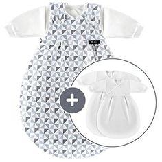 Alvi Baby Mäxchen Original / Ganzjahres Baby-Schlafsack - 3-tlg. mit gefüttertem Außensack und 2 Innensäcken mit Ärmeln / mitwachsend / Birnenform - Triangel Silber Grau (56/62)