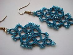 Turquoise HandTatted Lace Earrings with Blue Glass by FibersStudio, $20.00