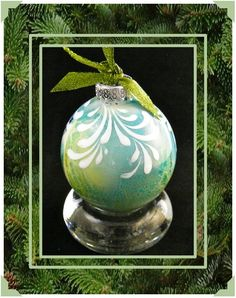 Hand Painted Keepsake Christmas Ornament - Shades of Pale Turquoise, Green, Black & White - Alcohol Ink - Glass Christmas Tree Ornaments To Make, Christmas Gift Decorations, Christmas Makes, Christmas Baubles, Christmas Holidays, Christmas Crafts, Christmas Stuff, Happy Holidays, Alcohol Ink Glass