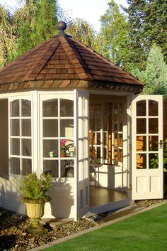 From Stylish Sheds To Backyard Workplaces Backyard Spas Garage Game Rooms, Garage Guest House, Octagonal Summer House, Outdoor Spaces, Outdoor Living, Spa Furniture, Furniture Design, Shed Of The Year, Garden Villa