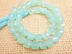10 Aqua Chalcedony Cube Faceted Stone Beads by gemsgemsn on Etsy