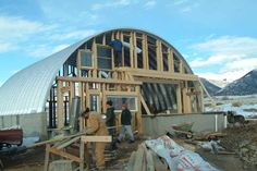 A Quonset hut is a prefabricated corrugated steel in the shape of half cylinder. For generations, they've been built in backyards as well as by industry giants Arch Building, Metal Building Homes, Metal Homes, Building A House, Building Ideas, Silo House, Hut House, Dome House, Quonset Hut Homes