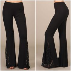 Black Lace Pants Super stylish, super comfy! Perfect combo! Black bell bottom pants with lace inset. Dress these up or down! Available in S/M/L. Made in USA. Price is Firm. ❌NO TRADES/PP❌ Pants