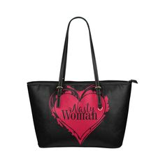 NASTY WOMAN ART HEART for powerwomen Leather Tote Bag/Small (Model 1651)