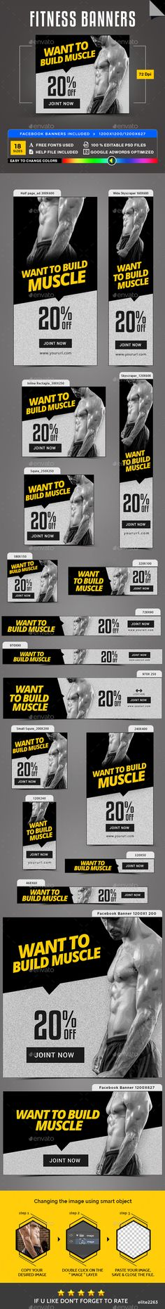 Fitness Banners — Photoshop PSD #template #gif banner • Available here → https://graphicriver.net/item/fitness-banners/19941461?ref=pxcr