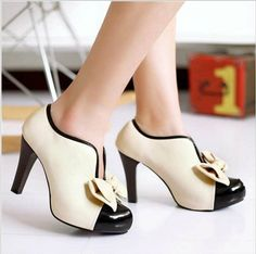 Adorable Bow Design High Heel Shoes in Beige - MeetYoursFashion - 2