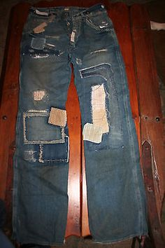 $395 Mens 30/32 W 34 L Ralph Lauren Vintage RRL Patchwork Buckleback Jeans SALE