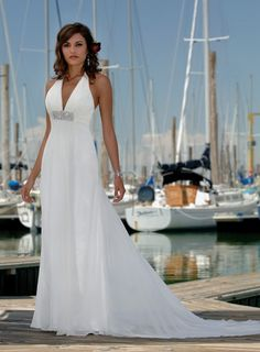 Elegant Empire Halter Wedding Dress...hhmm renew the vows after 10 years????