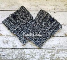 Handmade Wool Boot Cuffs Aran Dark Gray Ragg by MoomettesCrochet