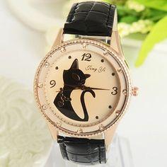 moda feminina quartzo relógio mulheres relógio vestido vintage gata pu correia strass relógios relogios femininos