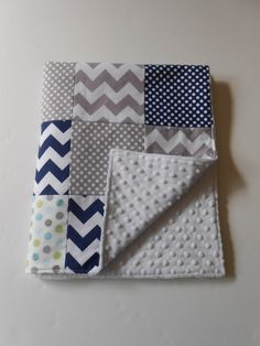 Minky Baby Boy Patchwork Quilt Blanket Riley by KristensCoverlets