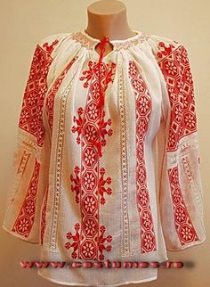 Romanian costume, Hand embroidered blouse from Muntenia region of Romani… Polish Embroidery, Hungarian Embroidery, Folk Embroidery, Folk Fashion, Ethnic Fashion, Folk Clothing, Folk Costume, Peasant Blouse, Embroidered Blouse