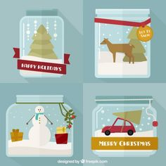 Set of glass jars with christmas elements Free Vector