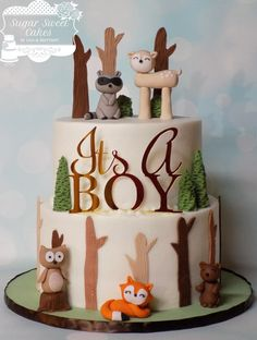 Wilderness Creatures by Sugar Sweet Cakes Baby Shower Sweets, Baby Shower Cakes For Boys, Baby Boy Cakes, Boy Baby Shower Themes, Baby Shower Fall, Baby Boy Shower, Baby Shower Decorations, Woodland Theme Cake, Camping Baby Showers