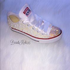 Bling and pearl converse Today only price drop  - serious inquiries only email me at beautikicks315 @ gmail.com Converse Shoes Sneakers