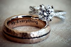 His ring is a hammered rose gold with an engraving. Hers is a split shank round cut diamond in platinum. Style Me Pretty | Gallery |