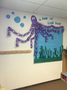 Ocean theme bulletin board - Add a link every time a student meets a particular goal (mastering a set of flashcards, word list, book read, etc) Ocean Bulletin Board, Preschool Bulletin Boards, Kindergarten Classroom, Class Decoration, School Decorations, School Themes, Classroom Displays, Classroom Themes, Ocean Themed Classroom