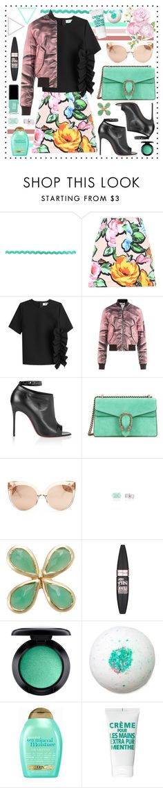 """Teal + Pink"" by cherieaustin ❤ liked on Polyvore featuring Love Moschino, MSGM, Moschino, Christian Louboutin, Gucci, Linda Farrow, Jacquie Aiche, Maybelline, MAC Cosmetics and Organix"