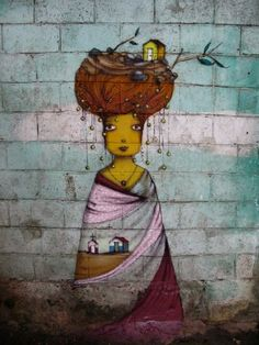 Os Gemeos Their work often features yellow-skinned characters - taken from the yellow tinge both of the twins have in their dreams - but is otherwise diverse and ranges from tags to complicated murals