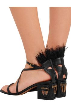 Shop on-sale Valentino Feather-embellished leather sandals. Browse other  discount designer Sandals & more on The Most Fashionable Fashion Outlet, ...