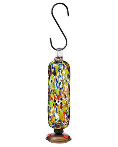 We've tried several types of hummingbird feeders, and the hanging glass bottle type seems to work best. This one is made from recycled glass in Mexico.