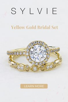 This gorgeous halo engagement ring includes a 1 carat, round, brilliant diamond with a single halo of sparkling diamonds. The band features a train down both sides of shimmering, round-cut diamonds, making the total weight of this stunning engagement ring come to 0.32 carats. Classic Yellow Gold Engagement Ring with Halo. SYLVIE Collection Double Halo Engagement Ring, Perfect Engagement Ring, Engagement Ring Styles, Designer Engagement Rings, Diamond Engagement Rings, Matching Wedding Bands, Diamond Wedding Bands, Stackable Bands, Thing 1