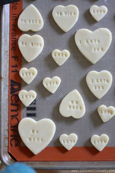 Stamped Conversation Heart Sugar Cookies for Valentine's Day! Could dye with food coloring before baking. Valentine Love, Valentines Day Cookies, Valentines Day Treats, Heart Cookies, Sugar Cookies, Converse With Heart, Cookie Designs, Cookie Decorating, Sweet Treats