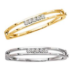 Classic Add-A-Diamond Bangle Bracelet handmade in Solid 14kt Yellow or White Gold with double security Lock. Diamonds extra.