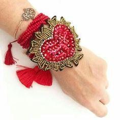 MIYUKI-adjustable miyuki bracelet heart color bracelet-handmade bracelet-miyuki-adjustable bracelet-red and gold crystal-Seed Jewelry hamsa Fabric Beads, Felt Fabric, Soutache Jewelry, Beaded Jewelry, Cute Jewelry, Jewelry Accessories, Handmade Crafts, Handmade Jewelry, Mode Hippie