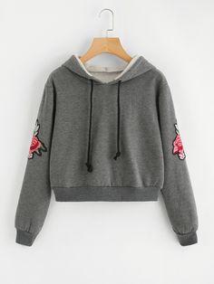 Rose Embroidered Sleeve Crop Sweatshirt