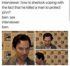 He's real mature guys, real mature.<<<is this the real conversation? Sherlock Bbc, Sherlock Fandom, Benedict Cumberbatch Sherlock, Martin Freeman, Benedict And Martin, Gay, John Watson, Marvel Funny, Johnlock