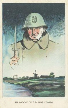 Prentbriefkaart uit de mobilisatie 1939-1940. 'En mocht de tijd eens komen'.