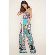 Forever 21 Women's  Abstract Paisley Jumpsuit featuring polyvore, women's fashion, clothing, jumpsuits, strapless jumpsuit, white strapless jumpsuit, white jump suit, tie belt and white jumpsuit