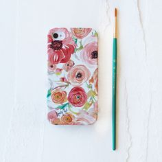 Coral Ranunculus Watercolor Cell Phone Case