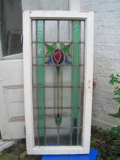 Stunning Stained Glass Window Leaded Light Art Nouveau Edwardian Rose Bud Rare!