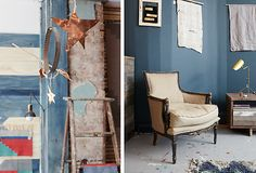 A makeshift mobile and refurbished pieces decorate the Nightwood studio.