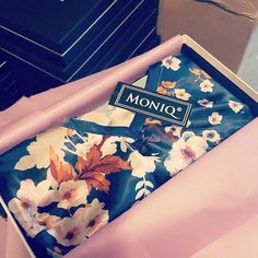 Packing your MONIQ Orders!  Love our FREE GIFT WRAP with every order - luxury black & white branded gift box, scented and colourful tissue paper and your new favourite sleepwear in it!  Shop now at https://mymoniq.com/
