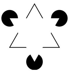 The Kanizsa triangle was created by Gaetano Kanizsa. This type of optical illusion uses subjective contours, which create the illusion of sharp edges. The white triangle also appears brighter than the background. The darker pacman-shaped circles show a color contrast that makes the triangle appears more luminescent. Illusory contours by the circles create the illusion of the edges of the triangle.